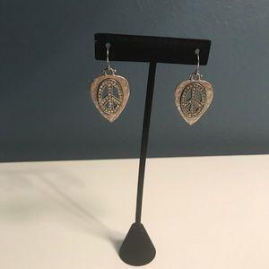 Lucky Brand silver peace earrings